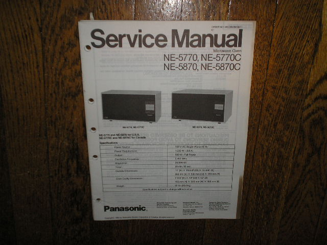 NE-5770 NE-5770C NE-5870 NE-5870C Microwave Oven Service Repair Manual