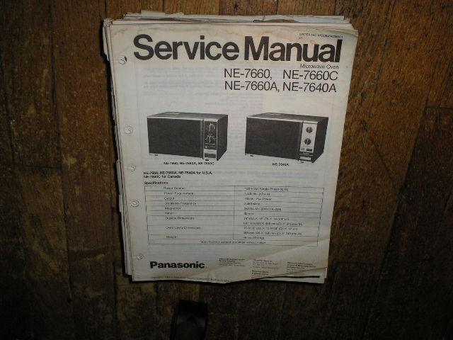 NE-7640 NE-7660 NE-7660A NE-7660C Microwave Oven Service Repair Manual