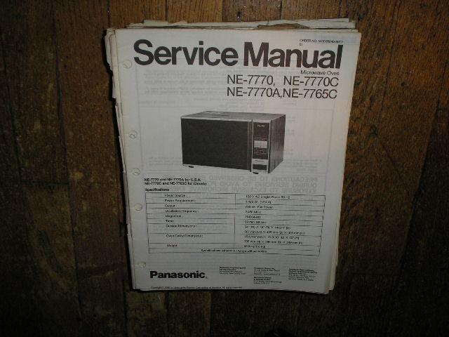 NE-7765C NE-7770 NE-7770A NE-7770C Microwave Oven Service Repair Manual