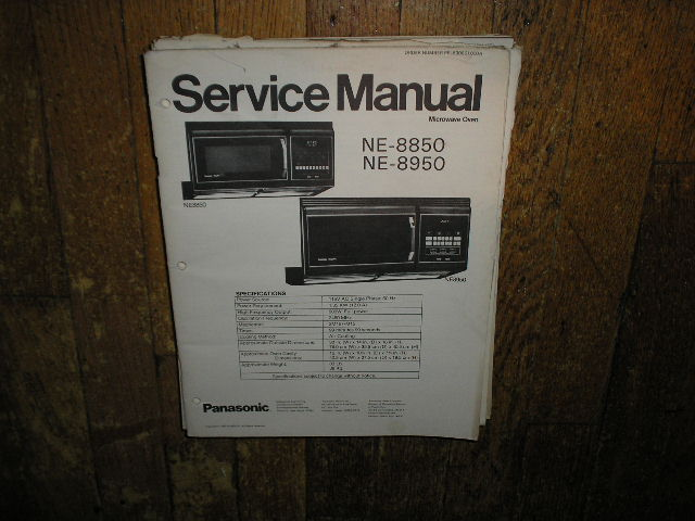 NE-8850 NE-8950 Microwave Oven Operating and Service Repair Manual