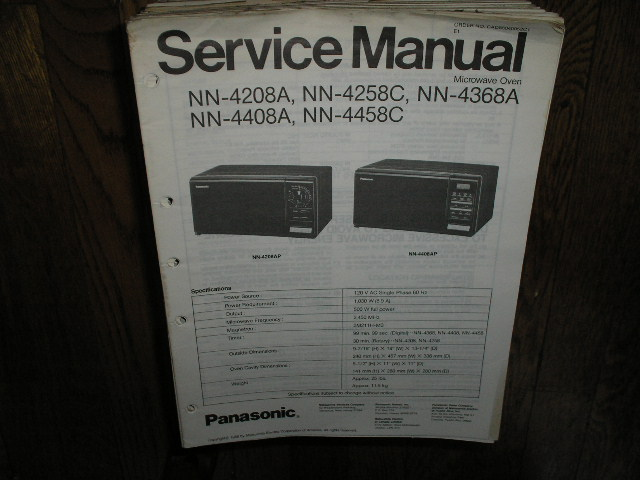 NN-4208A NN-4258C NN-4368A NN-4408A NN-4458C Microwave Oven Service Repair Manual