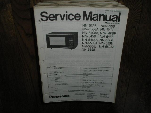 NN-5358 NN-5368 NN-5368A NN-5408 NN-5408A NN-5408P NN-5458 NN-5468 5468A NN-5505 NN-5558 NN-5808 NN-5808A NN-5858 Microwave Oven Service Repair Manual
