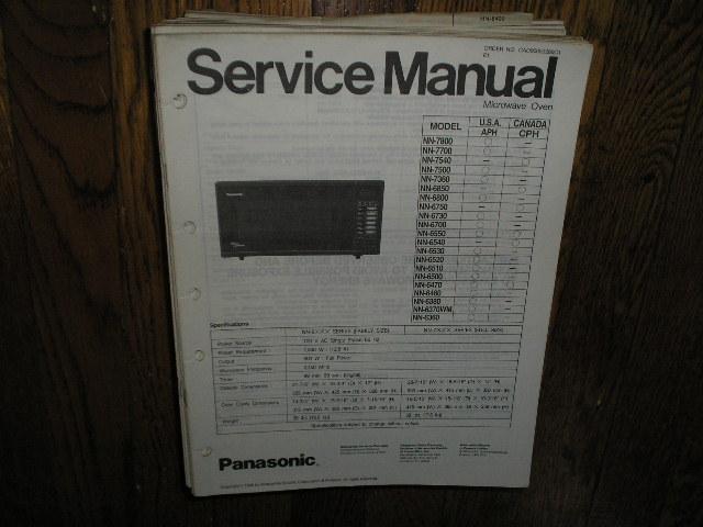 NN-6360 NN-6800 NN-6850 NN-7360 NN-7500 NN-7540 NN-7700 NN-7800 Microwave Oven Service Repair Manual