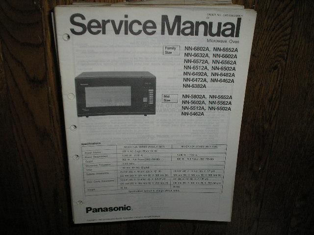 NN-5462A NN-6382A NN-6462A NN-6472A NN-6482A NN-6492A 6502A NN-6512A NN-6562A NN-6572A NN-6602A NN-6632A NN-6652A NN-6802 Microwave Oven Service Repair Manual