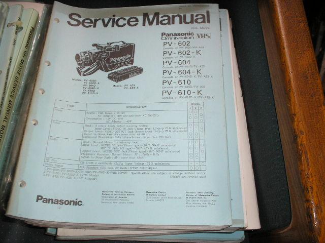 PV-602 PV-602-K PV-604 PV-604-K PV-610 PV-610-K VHS Camcorder Service Manual