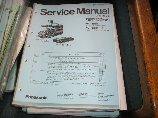 PV-660 PV-660-K VHS Camcorder Service Manual