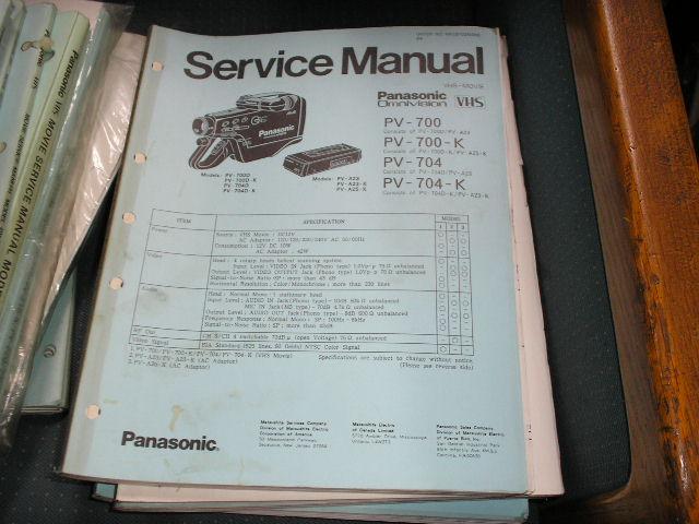 PV-700 PV-700-K PV-704 PV-704-K VHS Camcorder Service Manual