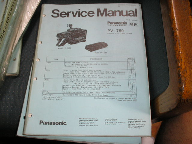 PV-750 VHS Camcorder Service Manual