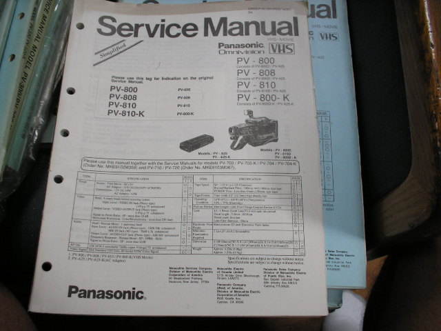 PV-800 PV-800-K PV-808 PV-810 VHS Camcorder Service Manual