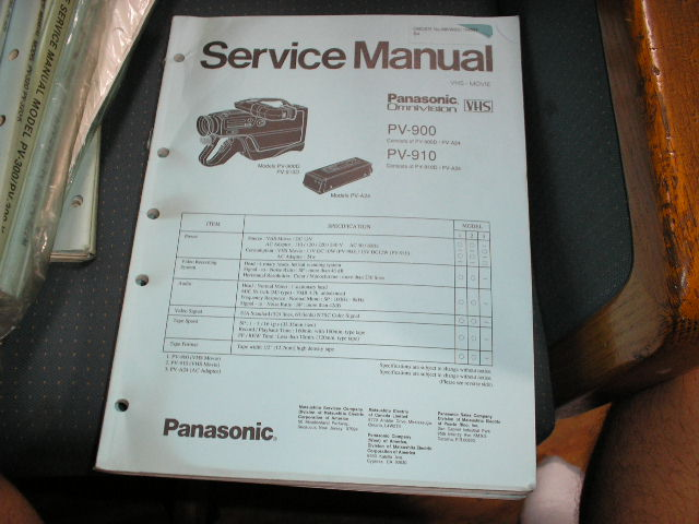 PV-900 PV-910 VHS Camcorder Service Manual