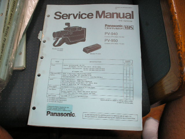 PV-940 PV-950 VHS Camcorder Service Manual