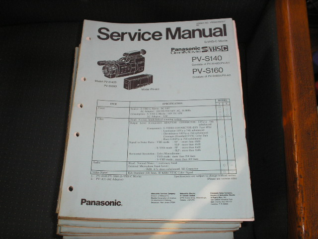 PV-S140 PV-S160 S-VHS-C Camcorder Service Manual