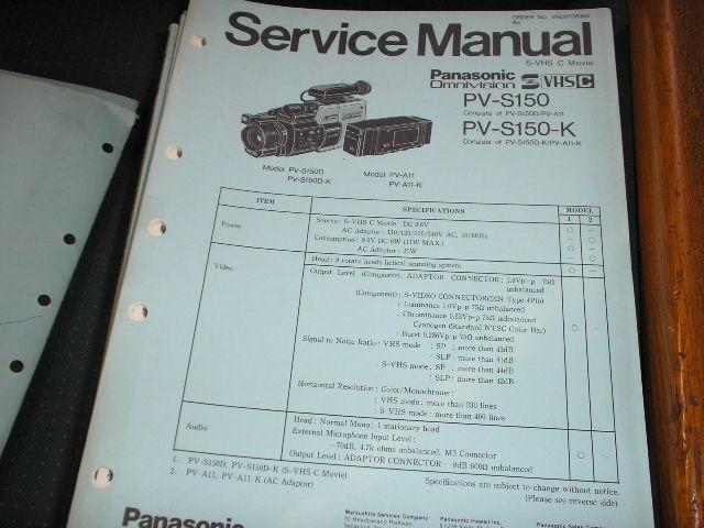 PV-S150 PV-S150-K S-VHS-C Camcorder Service Manual