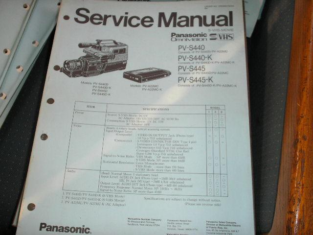 PV-S440 PV-S440-K PV-S445 PV-S445-K Camcorder Service Manual