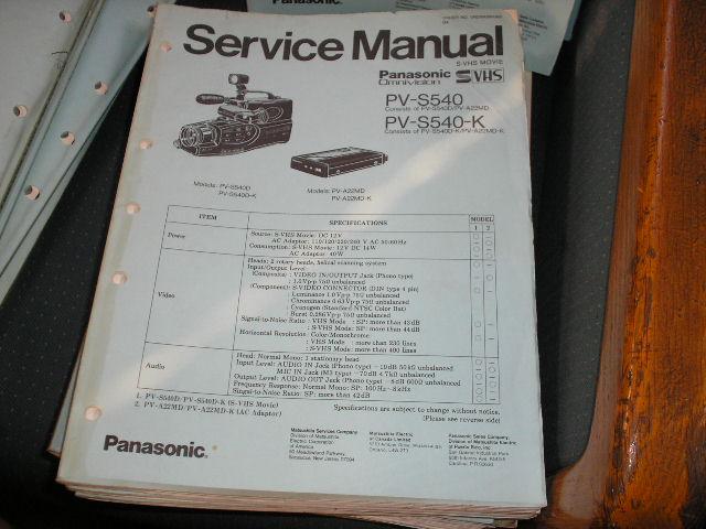 PV-S540 PV-S540-K Camcorder Service Manual