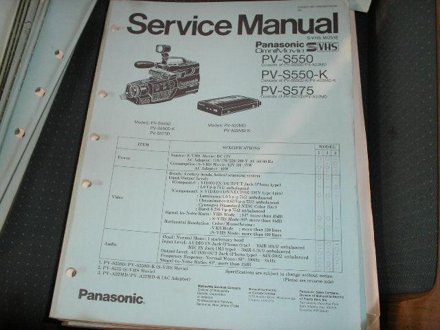PV-S550 PV-S550-K PV-S575 Camcorder Service Manual