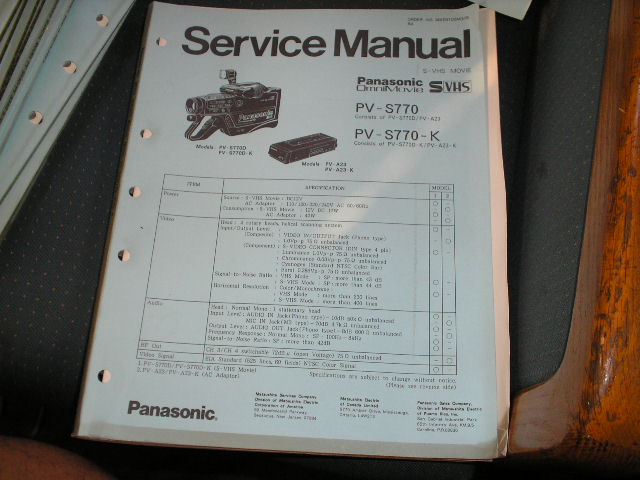 PV-S770 PV-S770-K S-VHS Camcorder Service Manual