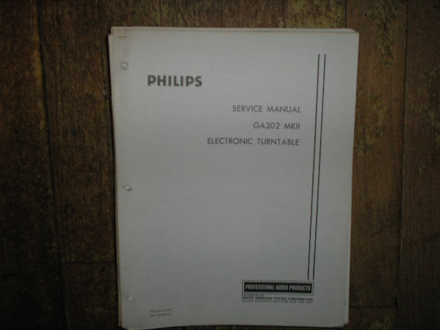 Philips GA202 MKII MK 2 Turntable Service Manual