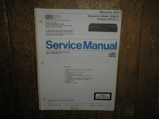 Philips Magnavox CDB472 CD472 CD Player Service Manual