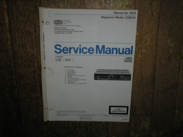 Philips Magnavox CDB570 CD Player Service Manual
