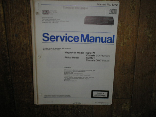 Philips Magnavox CDB471 Philco CD2471 CD Player Service Manual
