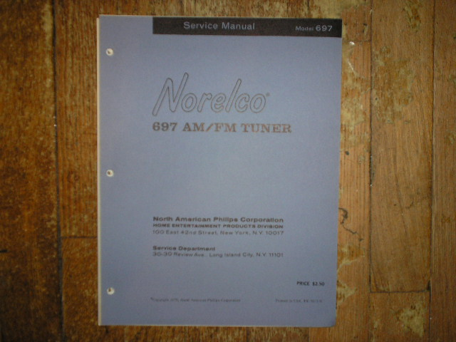 Norelco Philips NAP 697 AM FM Tuner Service Manual