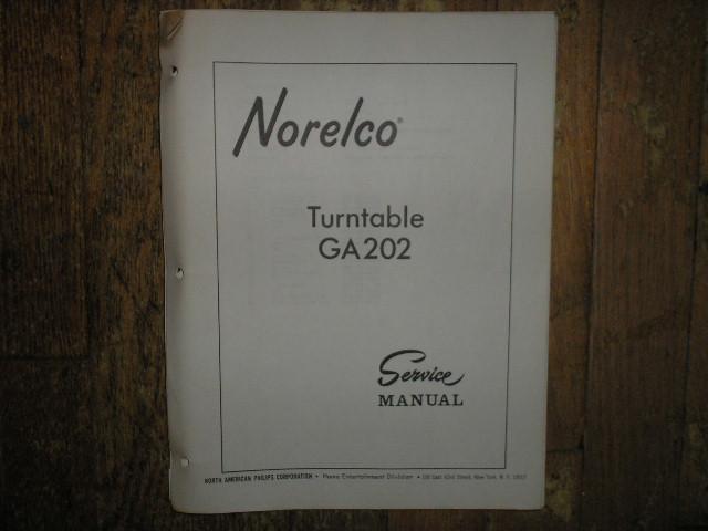 Norelco Philips NAP GA202 Turntable Service Manual