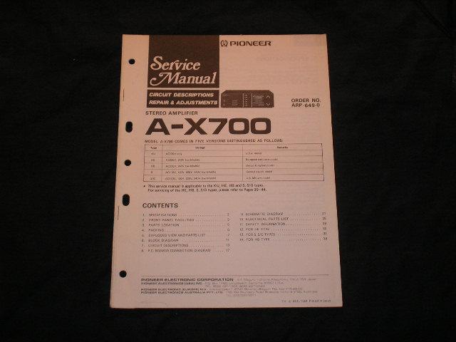 A-X700 Amplifier Service Manual