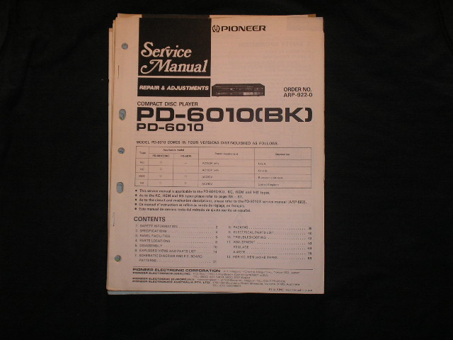 PD-6010 PD-6010BK CD Player Service Manual