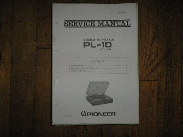 PL-10 KCT KUT  Turntable Service Manual ART-096-0