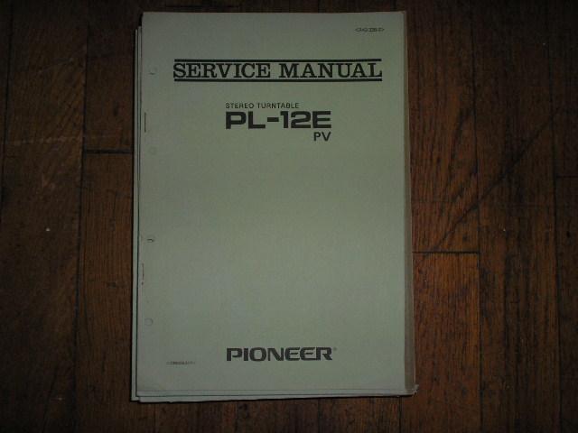PL-12E PL-12E PV Turntable Service Manual R42-328-0