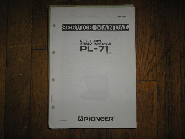 PL-71 PL-71 KUT Turntable Service Manual  ART-125-0