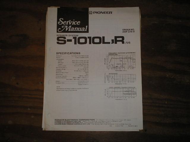 S-1010L S-1010R Speaker System Service Manual ARP-376