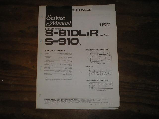 S-910 S-910L S-910R Speaker System Service Manual ARP-242