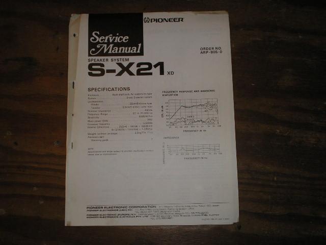 S-X21 Speaker System Service Manual ARP-805
