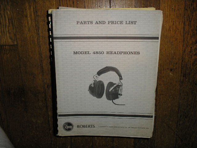 4850 Stereo Headphones Service Manual