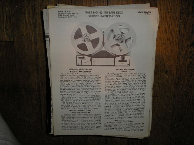 62-178 Reel to Reel Stereo Tape Deck Service Manual