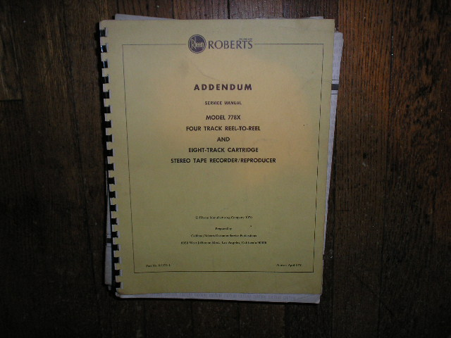 778X Stereo Reel to Reel Tape Deck Service Manual Addendum
