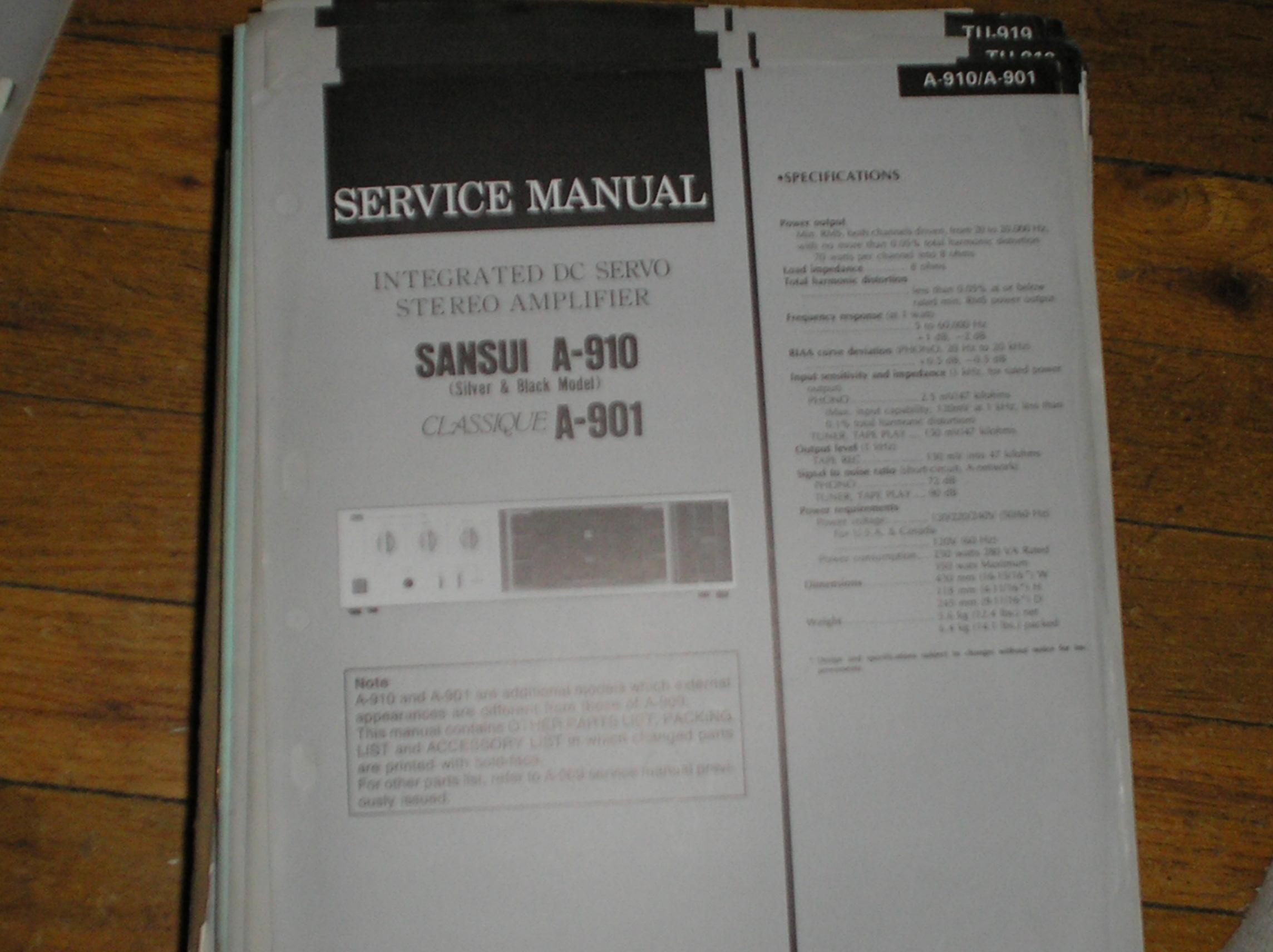 A-910 A-901 Classique Amplifier Service Manual