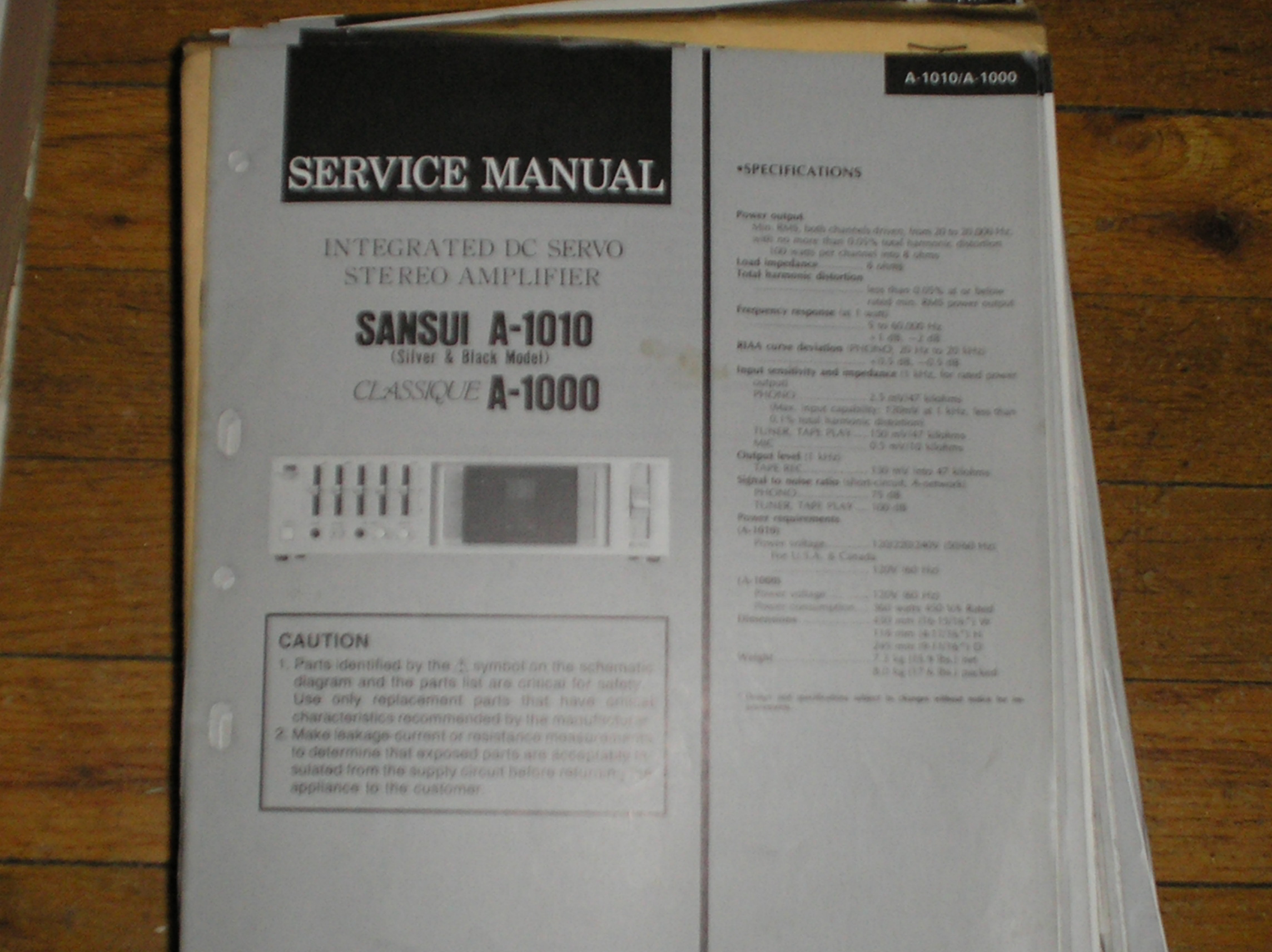 A-1010 A-1000 Classique Amplifier Service Manual