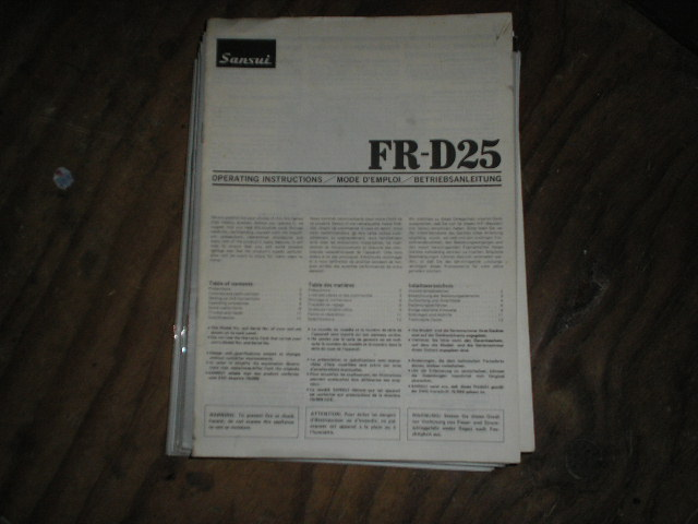 FR-D25 Turntable Owners Manual
