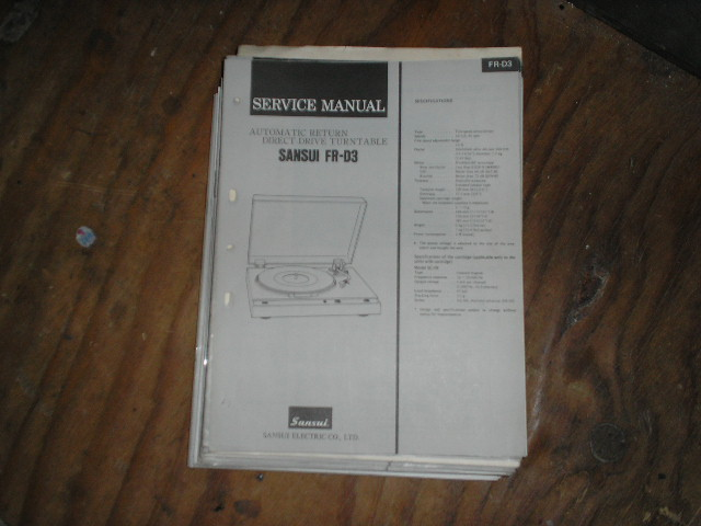 FR-D3 Turntable Service Manual