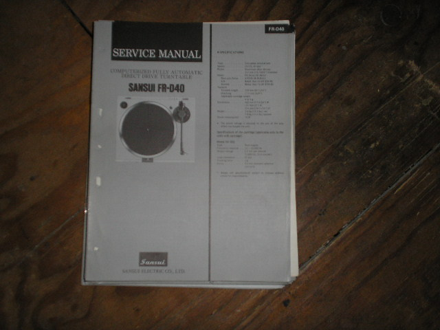 FR-D40 Turntable Service Manual