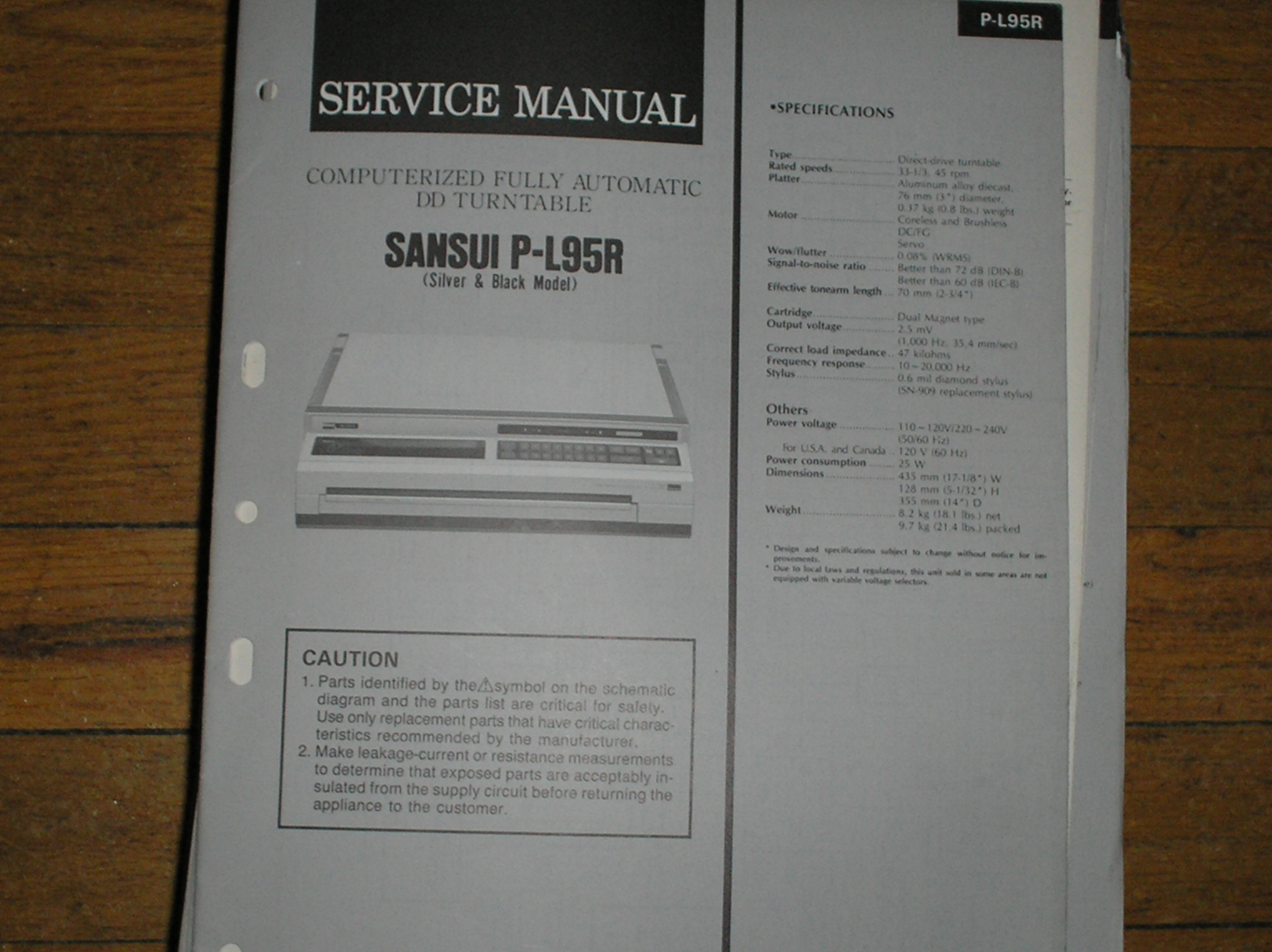 P-L95R Turntable Service Manual