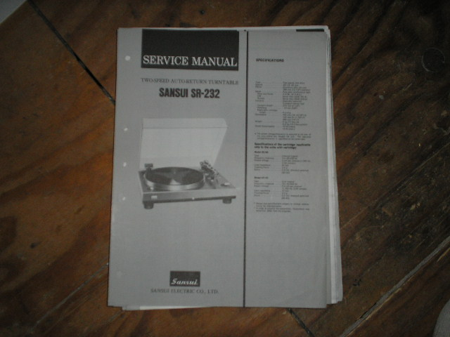 SR-232 Turntable Service Manual