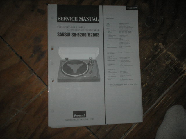 SR-B200  SR-B200S Turntable Service Manual