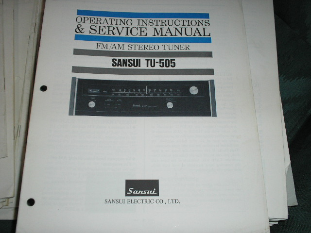 TU-505 Tuner Operating Service Instruction Manual