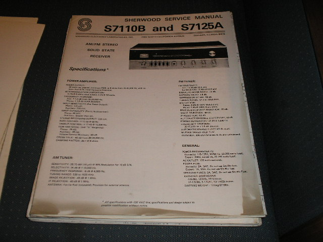 S-7110B S-7125A Stereo Receiver Service Manual