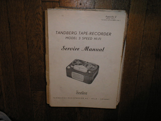 Model 3 Hi-Fi Tape Recorder Service Manual.. Also Need Type 2 Manual 1 to complete this set..