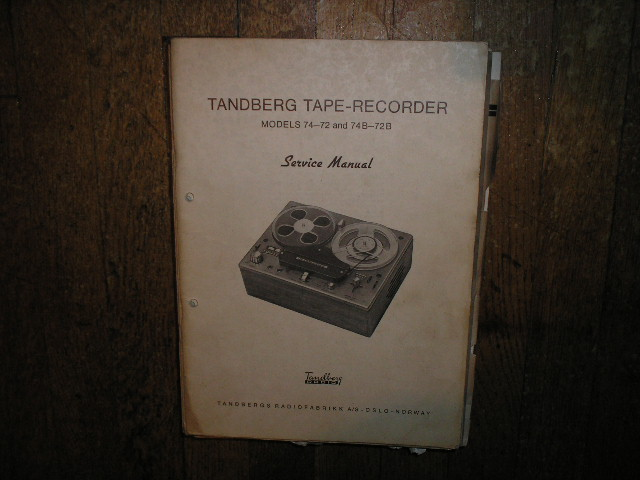 Model 72 74  72B 74B Tape Recorder Service Manual